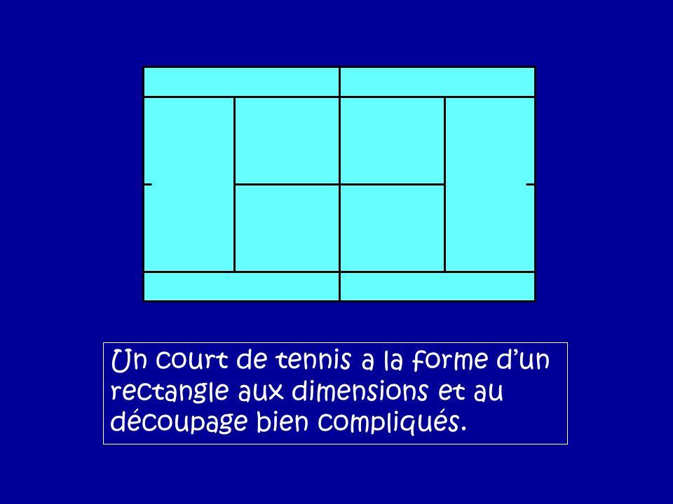 Un court de tennis a la forme dun rectangle aux dimensions et au découpage bien compliqués.