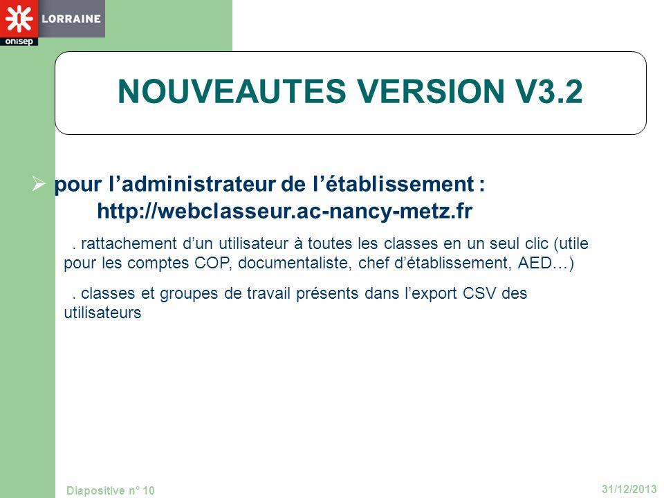 31/12/2013 Diapositive n° 10 NOUVEAUTES VERSION V3.2 pour ladministrateur de létablissement : http://webclasseur.ac-nancy-metz.fr. rattachement dun ut