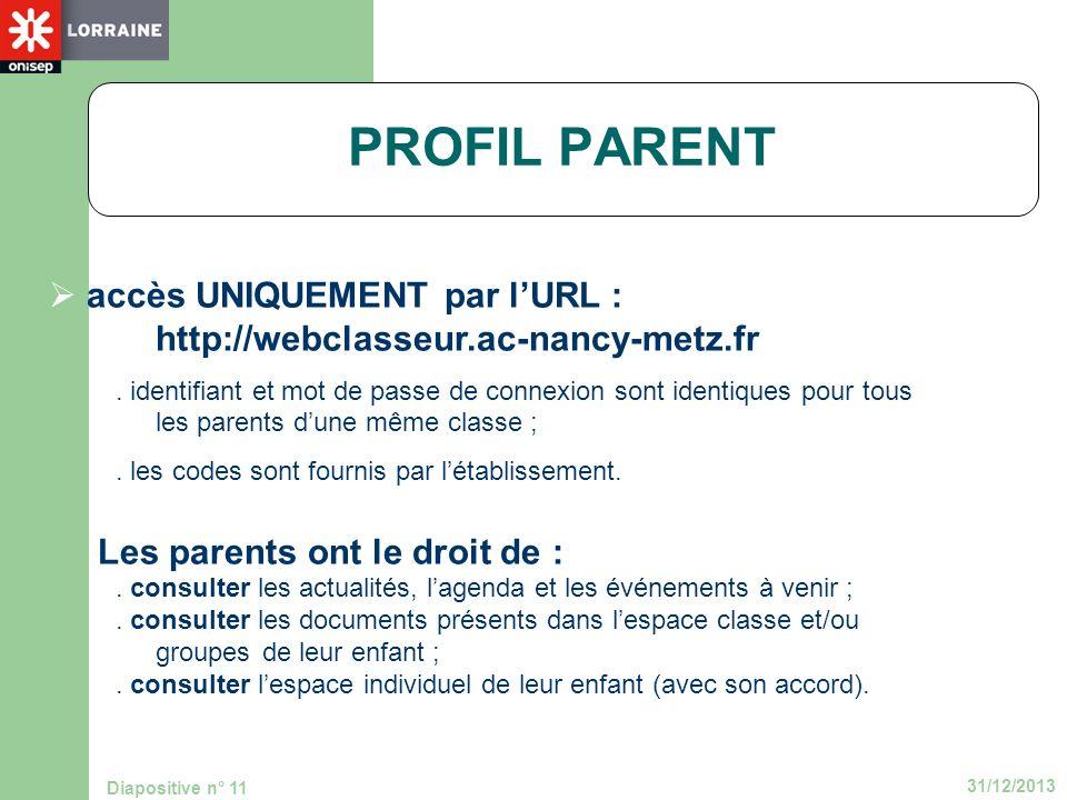 31/12/2013 Diapositive n° 11 PROFIL PARENT accès UNIQUEMENT par lURL : http://webclasseur.ac-nancy-metz.fr. identifiant et mot de passe de connexion s