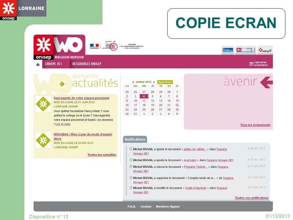 31/12/2013 Diapositive n° 12 COPIE ECRAN
