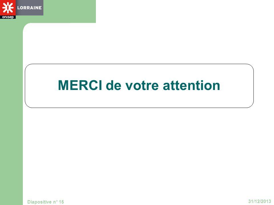 31/12/2013 Diapositive n° 15 MERCI de votre attention
