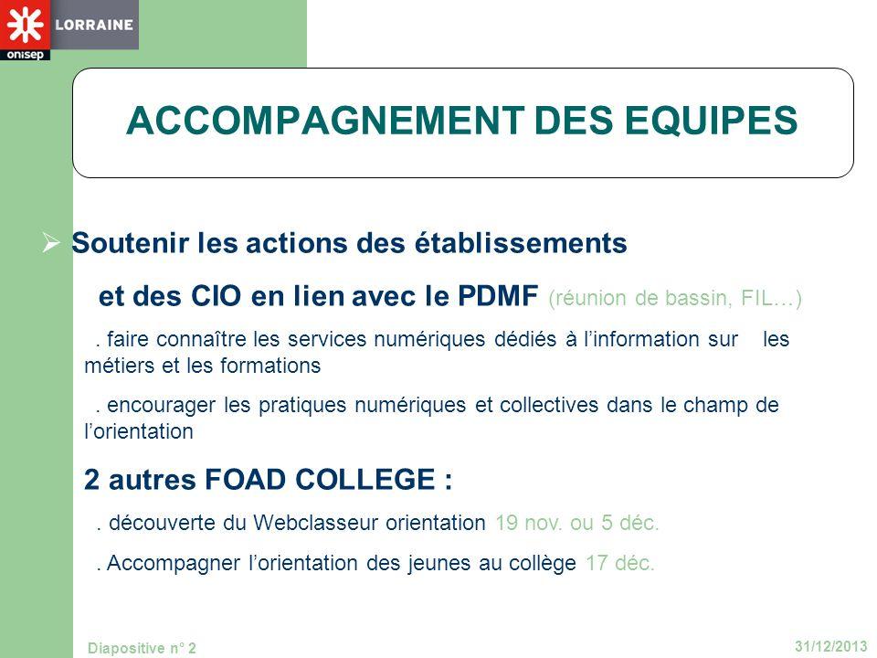 31/12/2013 Diapositive n° 2 ACCOMPAGNEMENT DES EQUIPES Soutenir les actions des établissements et des CIO en lien avec le PDMF (réunion de bassin, FIL