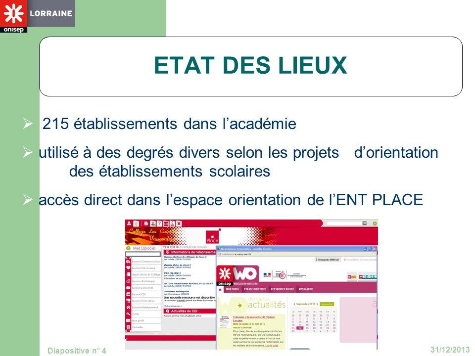 31/12/2013 Diapositive n° 4 215 établissements dans lacadémie utilisé à des degrés divers selon les projets dorientation des établissements scolaires