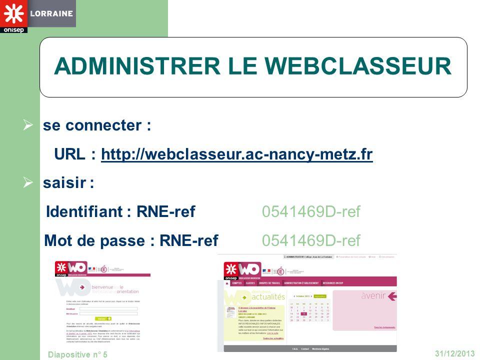 31/12/2013 Diapositive n° 5 se connecter : URL : http://webclasseur.ac-nancy-metz.frhttp://webclasseur.ac-nancy-metz.fr saisir : Identifiant : RNE-ref