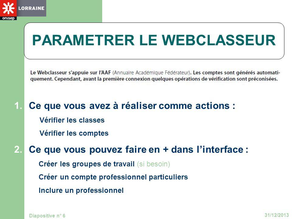 31/12/2013 Diapositive n° 6 1.Ce que vous avez à réaliser comme actions : -Vérifier les classes -Vérifier les comptes 2.Ce que vous pouvez faire en +