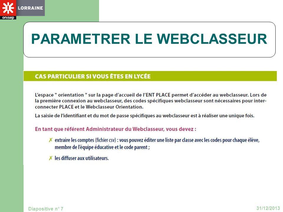 31/12/2013 Diapositive n° 7 PARAMETRER LE WEBCLASSEUR
