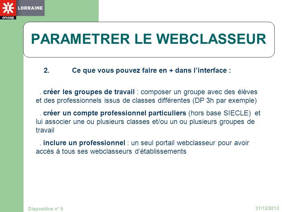 31/12/2013 Diapositive n° 9 PARAMETRER LE WEBCLASSEUR 2.Ce que vous pouvez faire en + dans linterface :. créer les groupes de travail : composer un gr