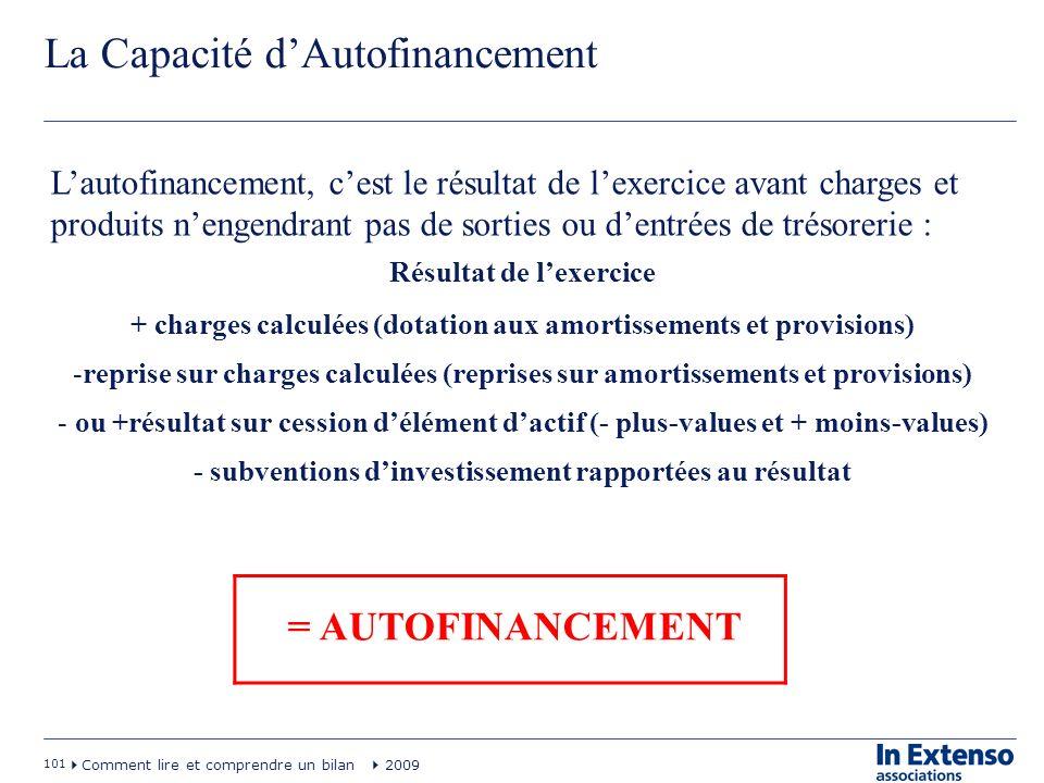 101 Comment lire et comprendre un bilan 2009 La Capacité dAutofinancement = AUTOFINANCEMENT Lautofinancement, cest le résultat de lexercice avant char