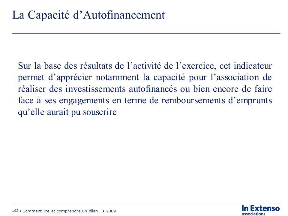 102 Comment lire et comprendre un bilan 2009 La Capacité dAutofinancement Sur la base des résultats de lactivité de lexercice, cet indicateur permet d