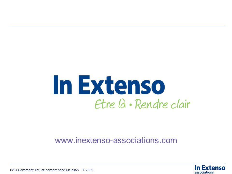 104 Comment lire et comprendre un bilan 2009 www.inextenso-associations.com