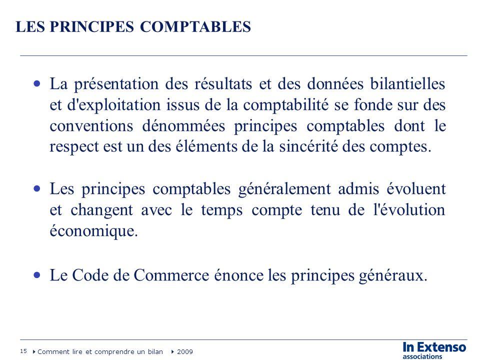 15 Comment lire et comprendre un bilan 2009 LES PRINCIPES COMPTABLES La présentation des résultats et des données bilantielles et d'exploitation issus