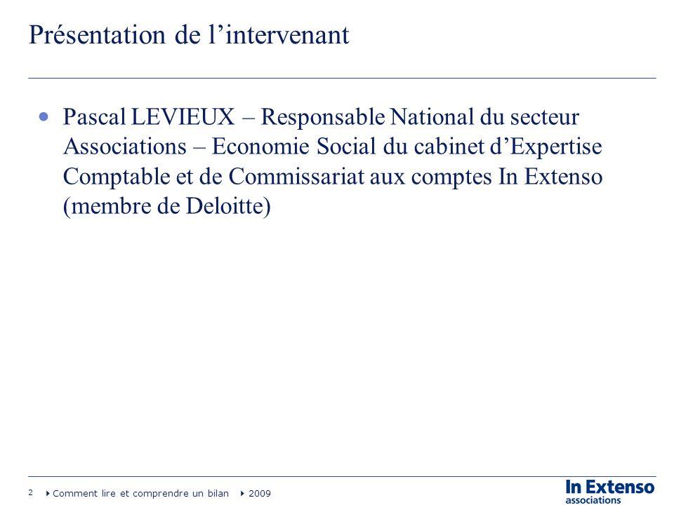 2 Comment lire et comprendre un bilan 2009 Présentation de lintervenant Pascal LEVIEUX – Responsable National du secteur Associations – Economie Socia