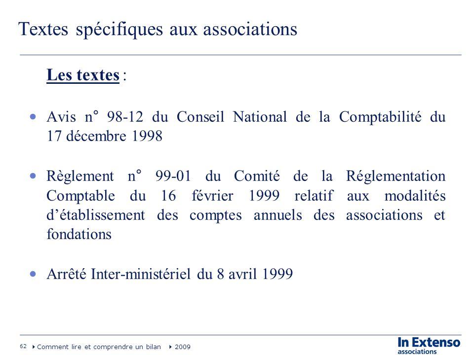 62 Comment lire et comprendre un bilan 2009 Textes spécifiques aux associations Les textes : Avis n° 98-12 du Conseil National de la Comptabilité du 1