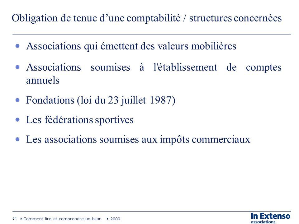 64 Comment lire et comprendre un bilan 2009 Obligation de tenue dune comptabilité / structures concernées Associations qui émettent des valeurs mobili