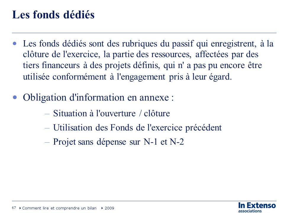 67 Comment lire et comprendre un bilan 2009 Les fonds dédiés Les fonds dédiés sont des rubriques du passif qui enregistrent, à la clôture de l'exercic