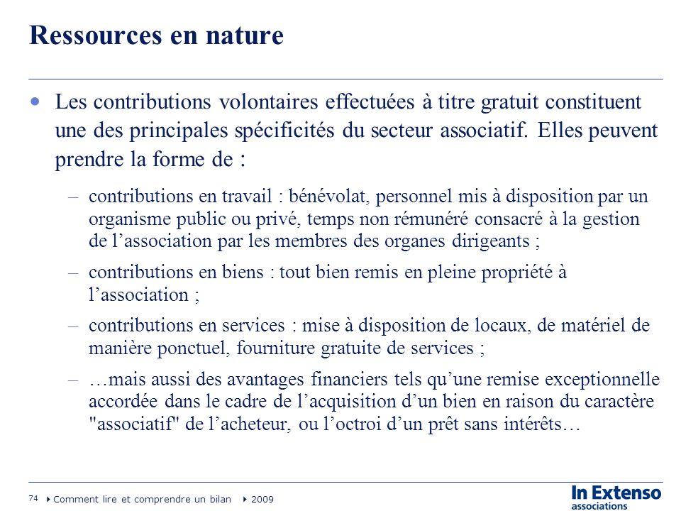 74 Comment lire et comprendre un bilan 2009 Ressources en nature Les contributions volontaires effectuées à titre gratuit constituent une des principa