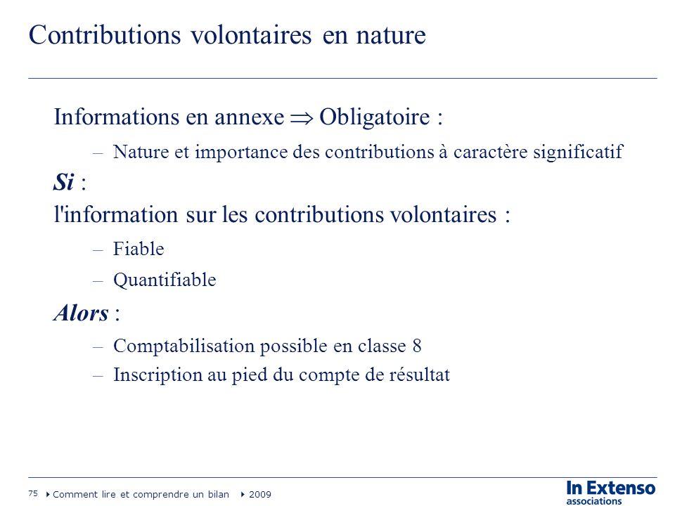 75 Comment lire et comprendre un bilan 2009 Contributions volontaires en nature Informations en annexe Obligatoire : –Nature et importance des contrib