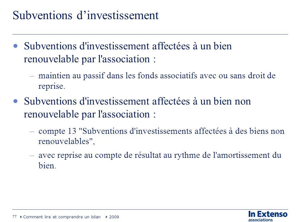 77 Comment lire et comprendre un bilan 2009 Subventions dinvestissement Subventions d'investissement affectées à un bien renouvelable par l'associatio