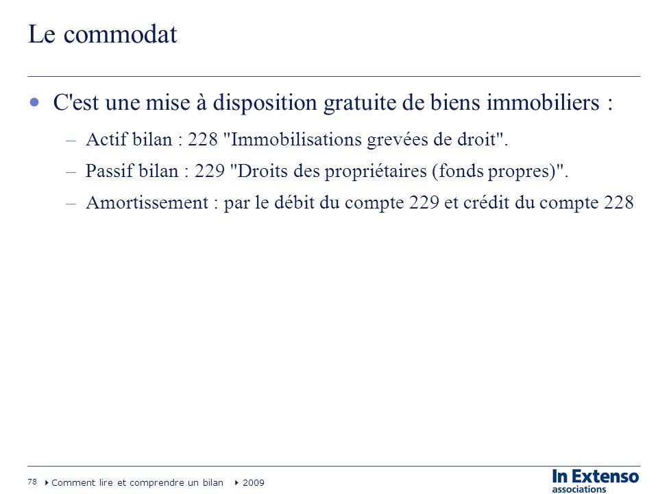 78 Comment lire et comprendre un bilan 2009 Le commodat C'est une mise à disposition gratuite de biens immobiliers : –Actif bilan : 228