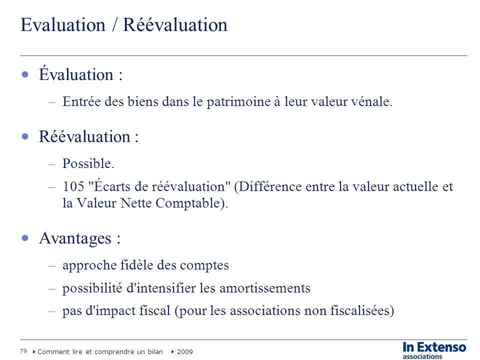 79 Comment lire et comprendre un bilan 2009 Evaluation / Réévaluation Évaluation : –Entrée des biens dans le patrimoine à leur valeur vénale. Réévalua