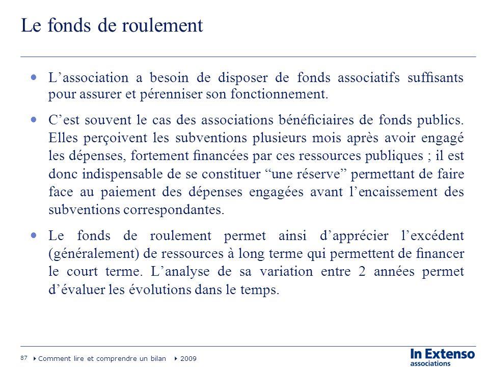 87 Comment lire et comprendre un bilan 2009 Le fonds de roulement Lassociation a besoin de disposer de fonds associatifs sufsants pour assurer et pére