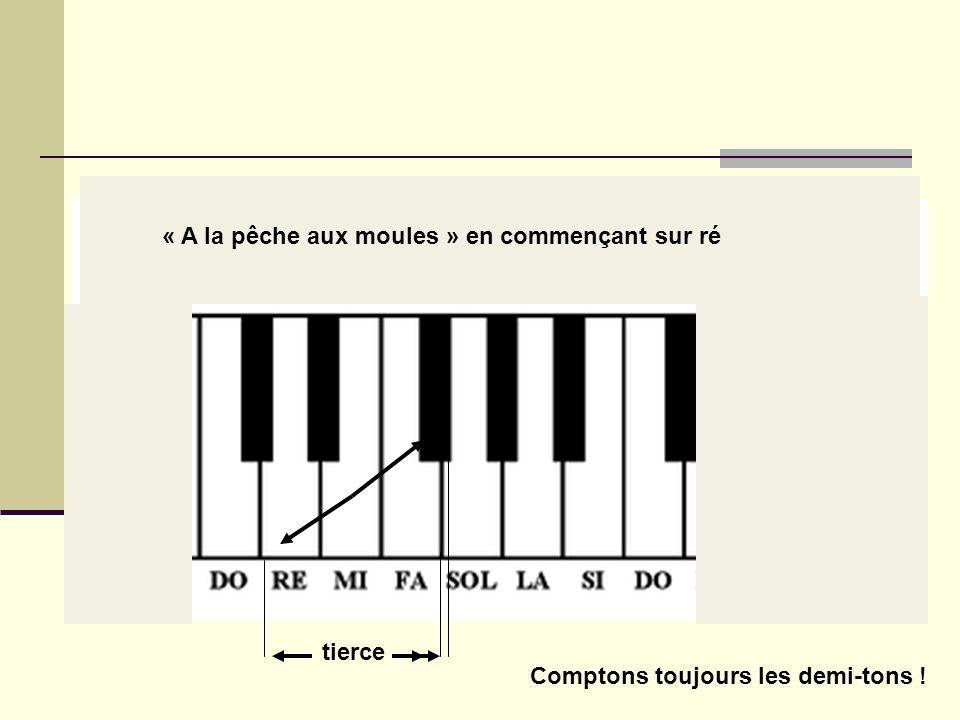 Chantons quelques intervalles (1) La tierce (majeure) : 4 demi-tons Premier exemple : « A la pêche aux moules » tierce