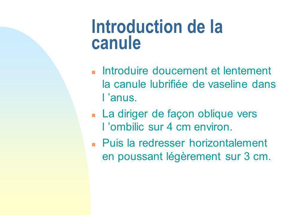 Introduction de la canule n Introduire doucement et lentement la canule lubrifiée de vaseline dans l anus. n La diriger de façon oblique vers l ombili