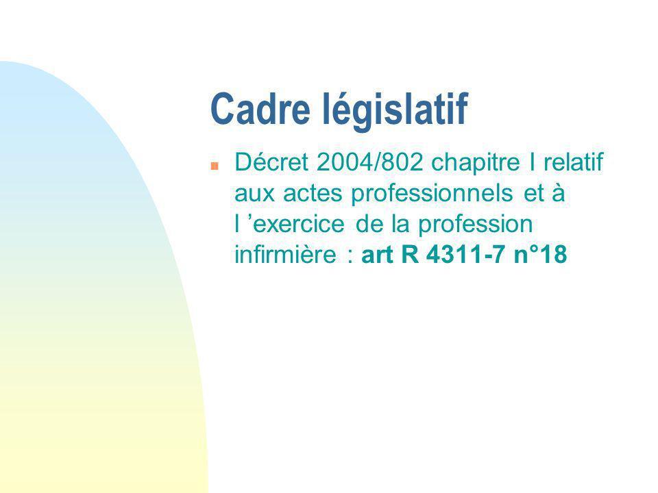 Cadre législatif n Décret 2004/802 chapitre I relatif aux actes professionnels et à l exercice de la profession infirmière : art R 4311-7 n°18