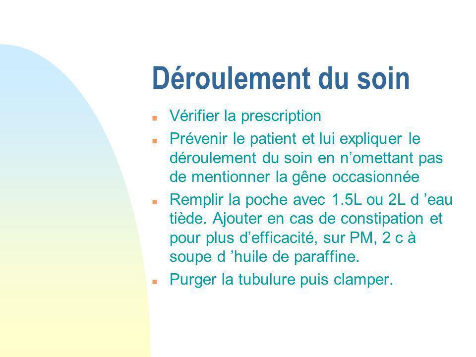 Installation du patient n Le soin doit être effectué au moins 2 h après un repas et suffisamment tôt dans la journée pour ne pas nuire au sommeil du patient.