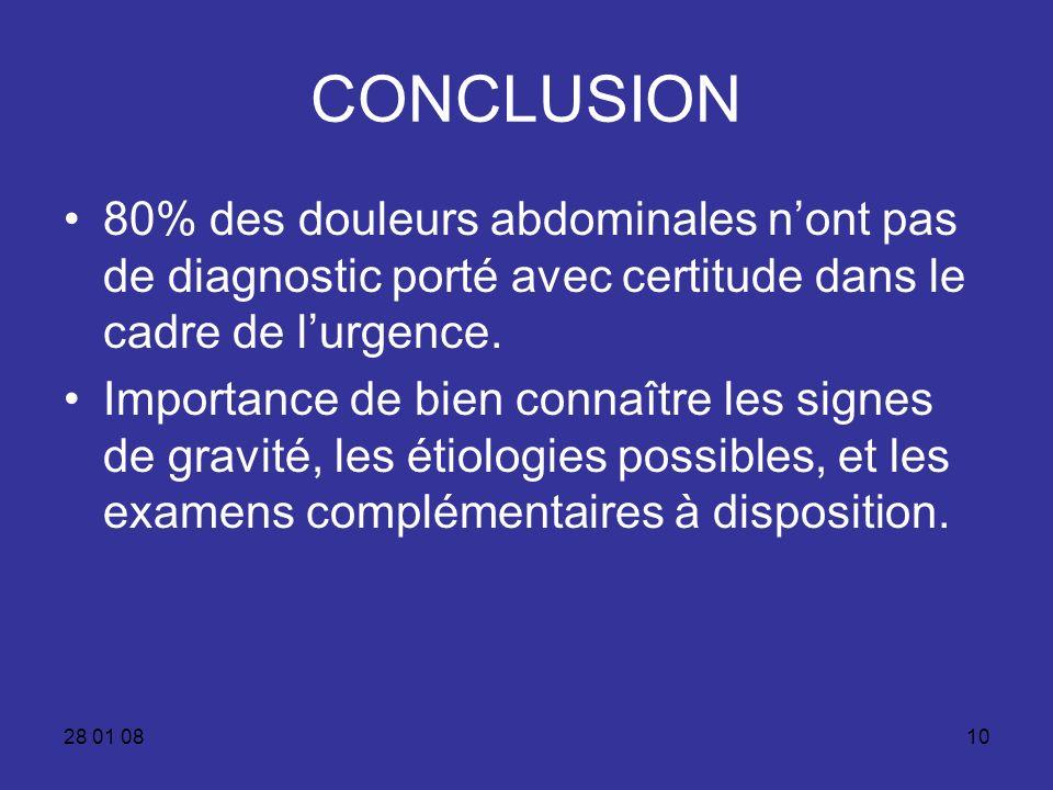28 01 0810 CONCLUSION 80% des douleurs abdominales nont pas de diagnostic porté avec certitude dans le cadre de lurgence. Importance de bien connaître