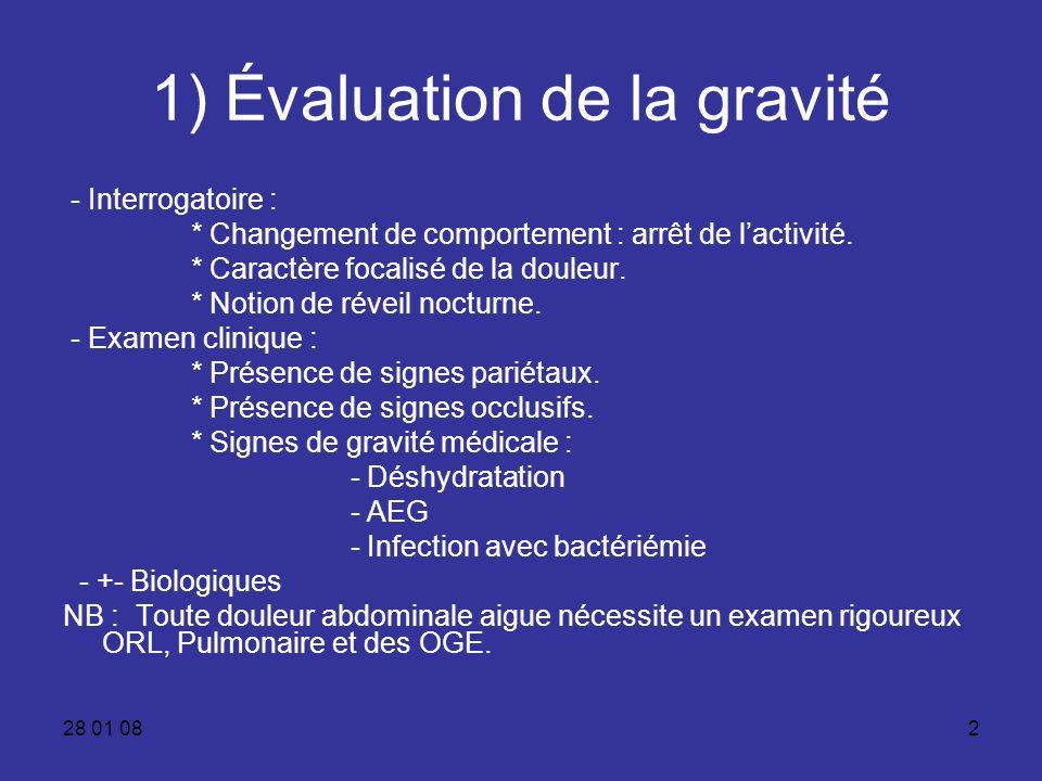 28 01 082 1) Évaluation de la gravité - Interrogatoire : * Changement de comportement : arrêt de lactivité. * Caractère focalisé de la douleur. * Noti