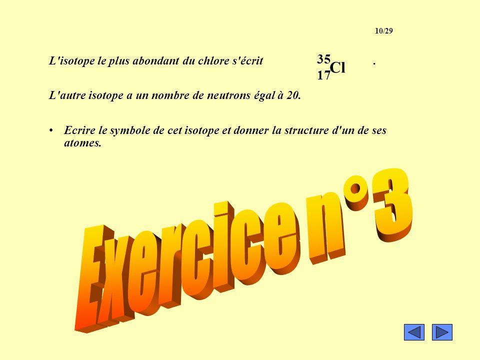 Le numéro atomique du fer est Z = 26 et son nombre de neutrons varie de 28 à 30. Ecrire sous la forme X tous les représentants de cet élément. A Z 9/2