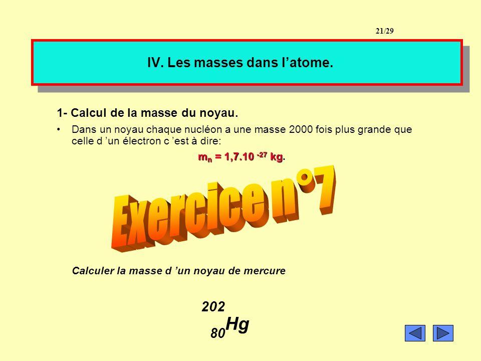Exercice n°6: Donner la structure électronique : 40 de l argon: 18 Ar 11 du bore: 5 B 20/29