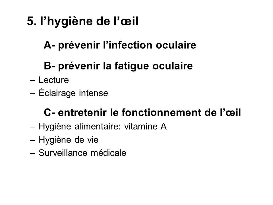 5. lhygiène de lœil A- prévenir linfection oculaire B- prévenir la fatigue oculaire –Lecture –Éclairage intense C- entretenir le fonctionnement de lœi