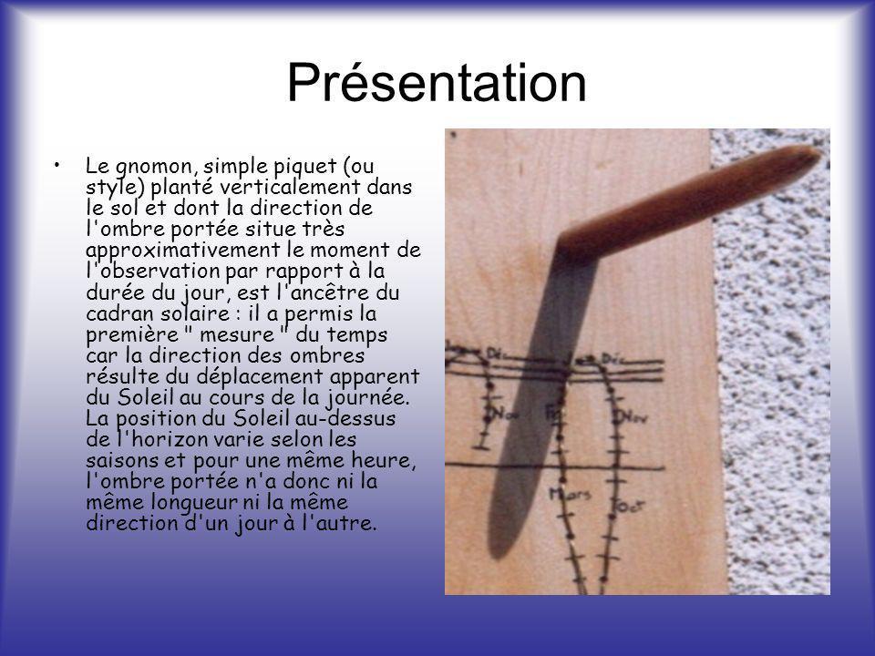 Présentation Le gnomon, simple piquet (ou style) planté verticalement dans le sol et dont la direction de l'ombre portée situe très approximativement