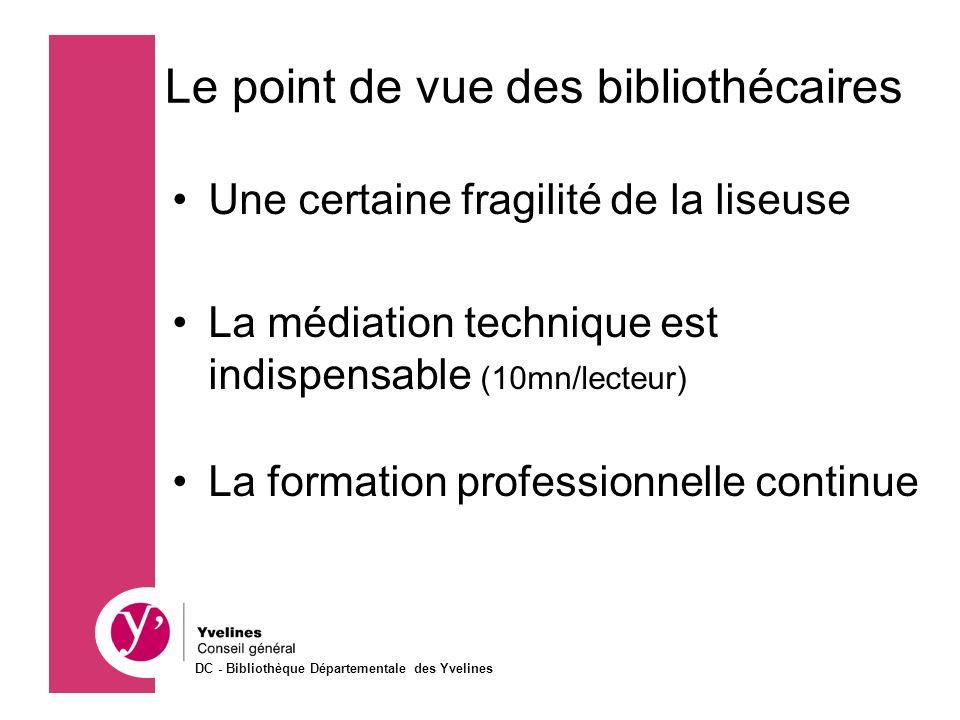 Une certaine fragilité de la liseuse La médiation technique est indispensable (10mn/lecteur) La formation professionnelle continue Le point de vue des