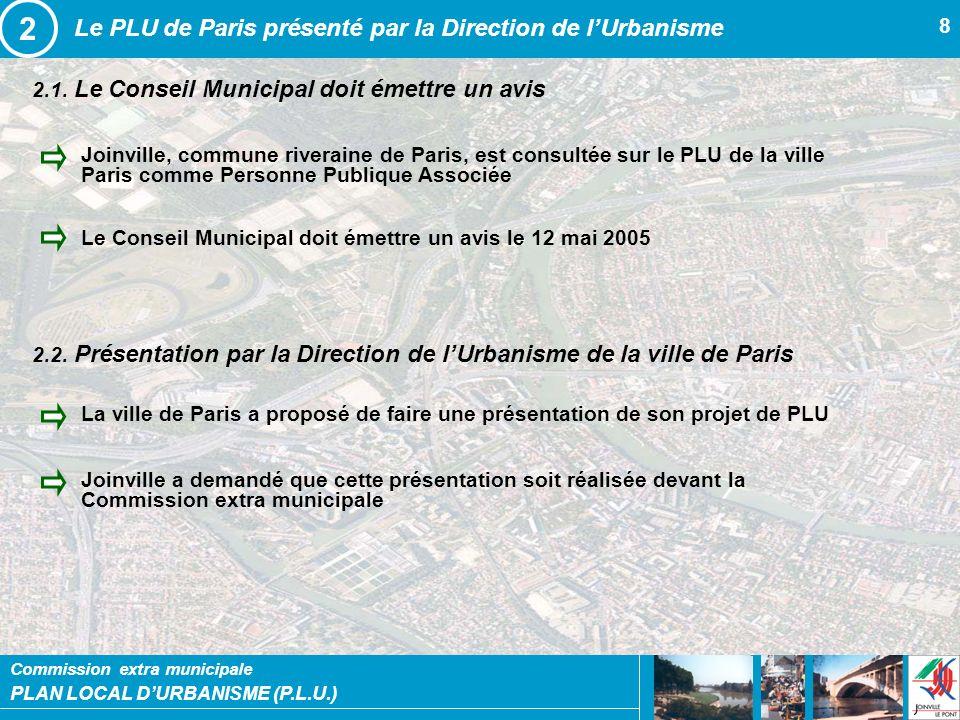 PLAN LOCAL DURBANISME (P.L.U.) Commission extra municipale 8 2.1. Le Conseil Municipal doit émettre un avis Le PLU de Paris présenté par la Direction