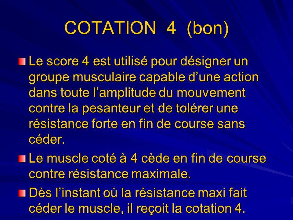 COTATION 4 (bon) Le score 4 est utilisé pour désigner un groupe musculaire capable dune action dans toute lamplitude du mouvement contre la pesanteur