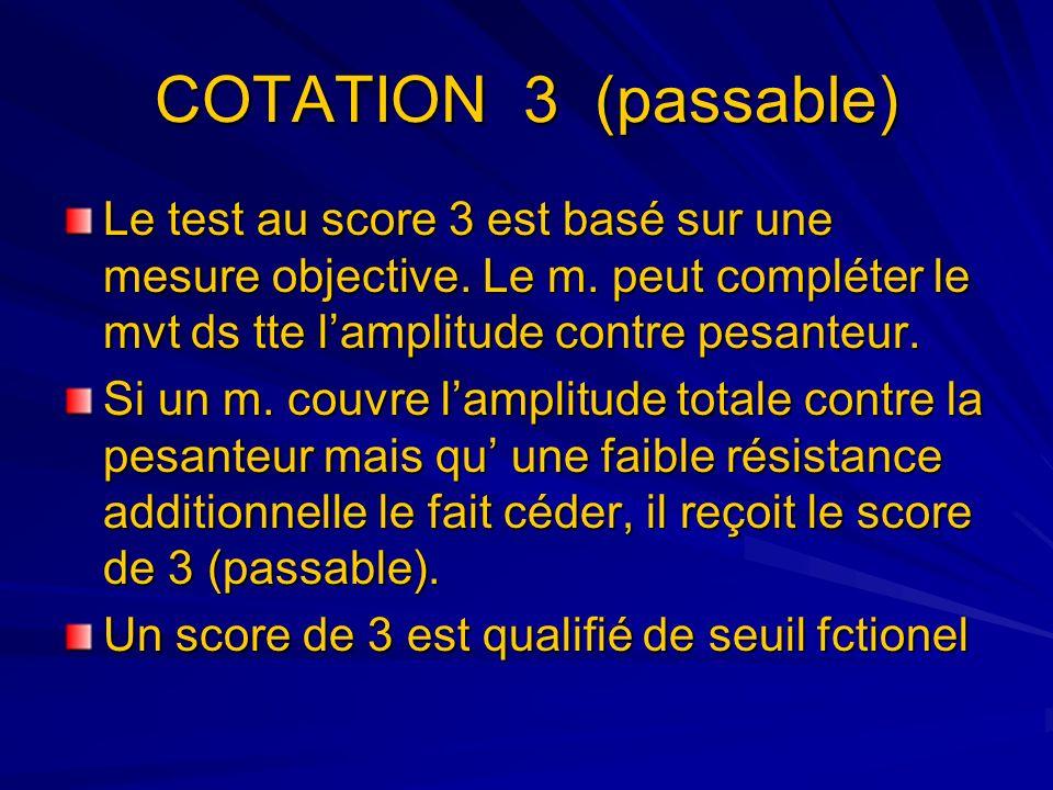 COTATION 3 (passable) Le test au score 3 est basé sur une mesure objective. Le m. peut compléter le mvt ds tte lamplitude contre pesanteur. Si un m. c