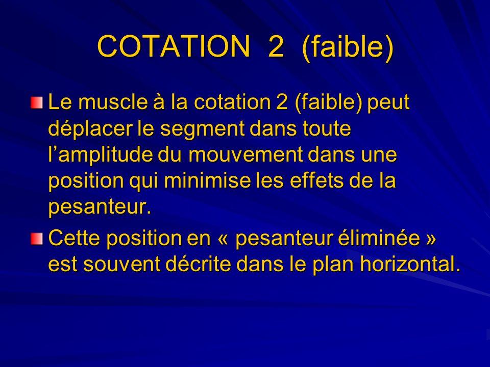 COTATION 2 (faible) Le muscle à la cotation 2 (faible) peut déplacer le segment dans toute lamplitude du mouvement dans une position qui minimise les