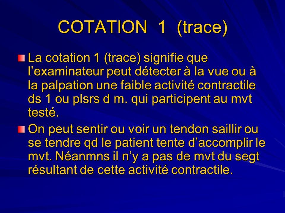 COTATION 1 (trace) La cotation 1 (trace) signifie que lexaminateur peut détecter à la vue ou à la palpation une faible activité contractile ds 1 ou pl