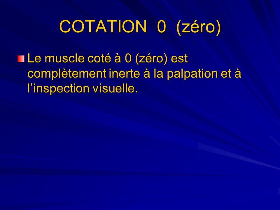 COTATION 0 (zéro) Le muscle coté à 0 (zéro) est complètement inerte à la palpation et à linspection visuelle.