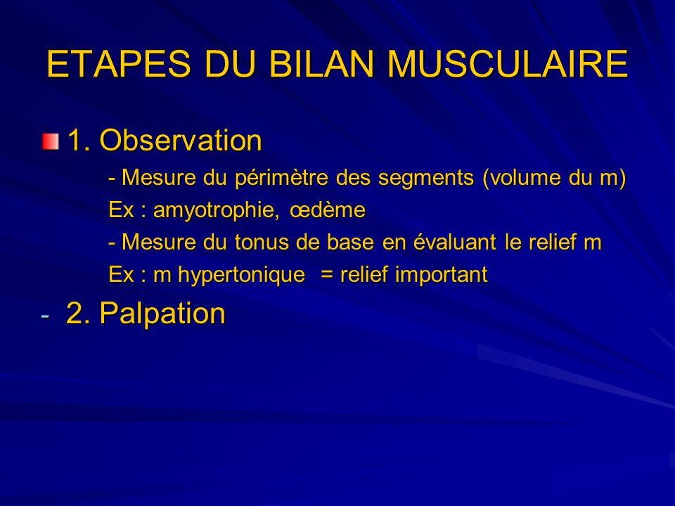 ETAPES DU BILAN MUSCULAIRE 1. Observation - Mesure du périmètre des segments (volume du m) Ex : amyotrophie, œdème - Mesure du tonus de base en évalua