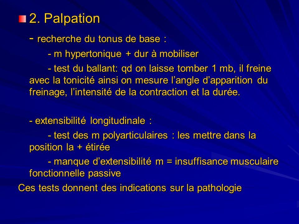 2. Palpation - recherche du tonus de base : - m hypertonique + dur à mobiliser - test du ballant: qd on laisse tomber 1 mb, il freine avec la tonicité