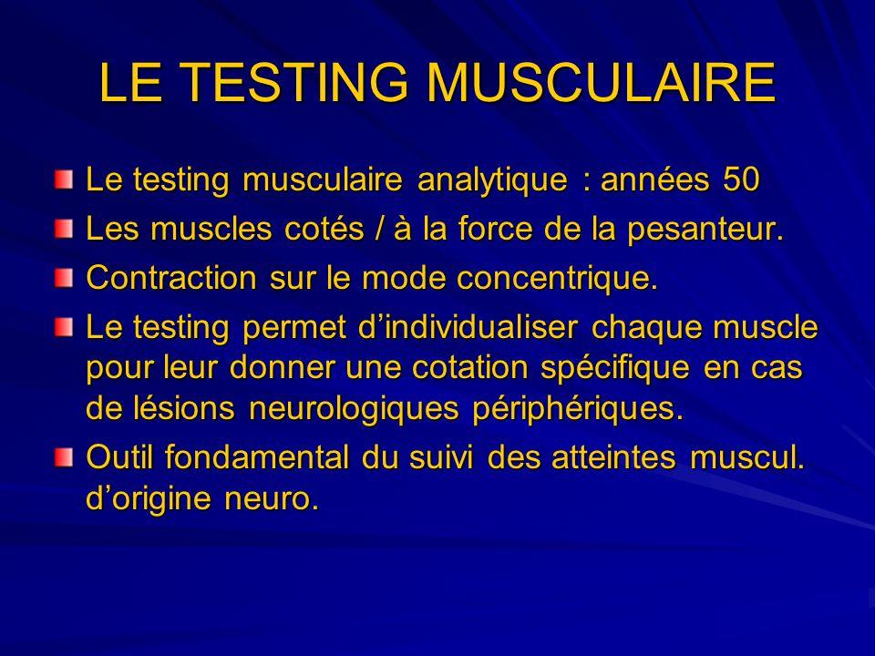 LE TESTING MUSCULAIRE Le testing musculaire analytique : années 50 Les muscles cotés / à la force de la pesanteur. Contraction sur le mode concentriqu