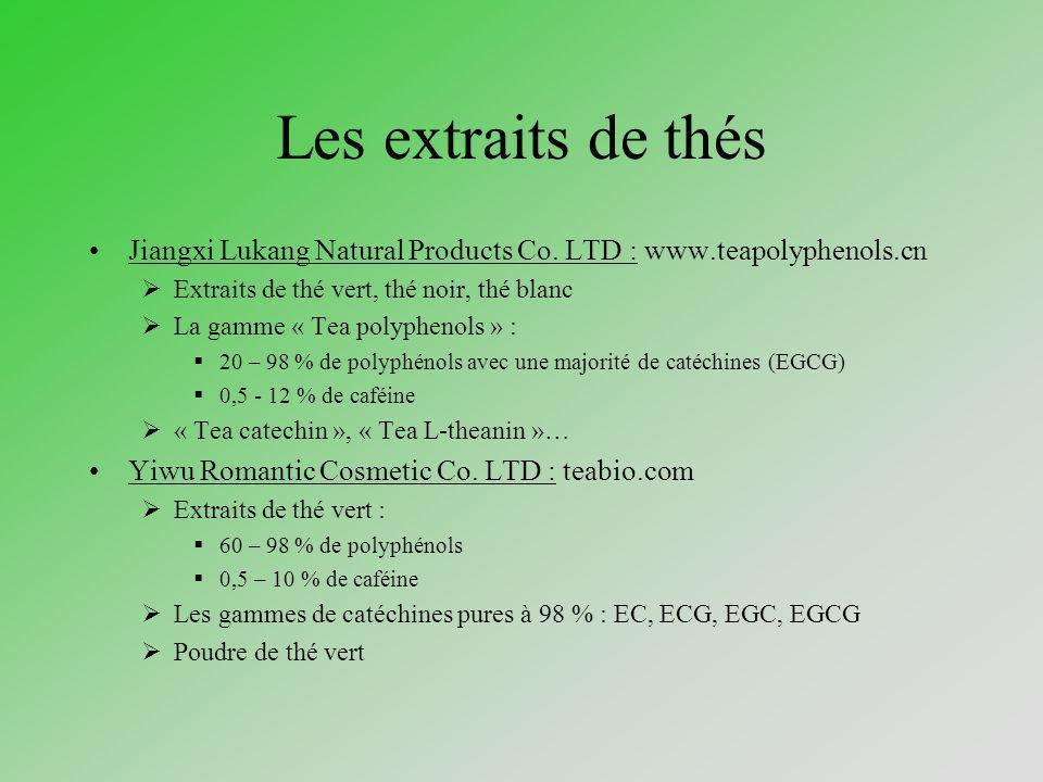 Traceurs Les catéchines : par HPLC-ESI-MS (Frauen & al., 2002) Efficacité Concentration importante dans dans le thé vert : 20 % du poids sec Formulations cosmétiques avec 0,1 % dextrait de thé vert.
