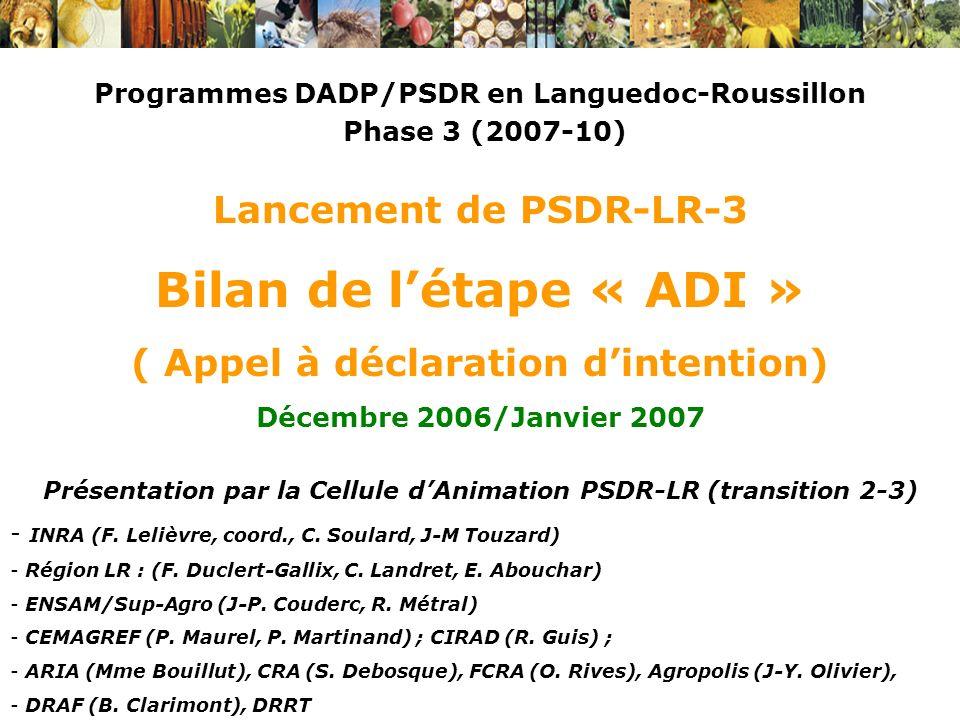 Programmes DADP/PSDR en Languedoc-Roussillon Phase 3 (2007-10) Lancement de PSDR-LR-3 Bilan de létape « ADI » ( Appel à déclaration dintention) Décemb