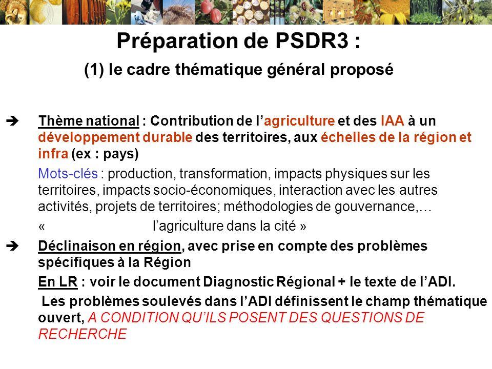 Préparation de PSDR3 : (1) le cadre thématique général proposé Thème national : Contribution de lagriculture et des IAA à un développement durable des