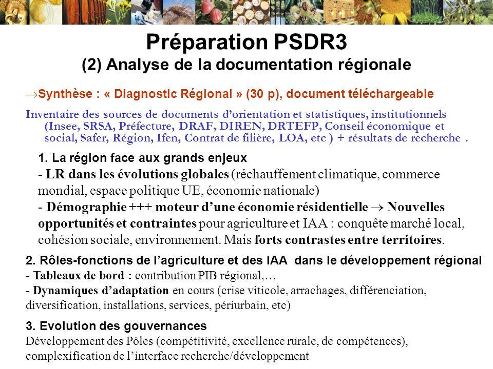 Préparation PSDR3 (2) Analyse de la documentation régionale Inventaire des sources de documents dorientation et statistiques, institutionnels (Insee,