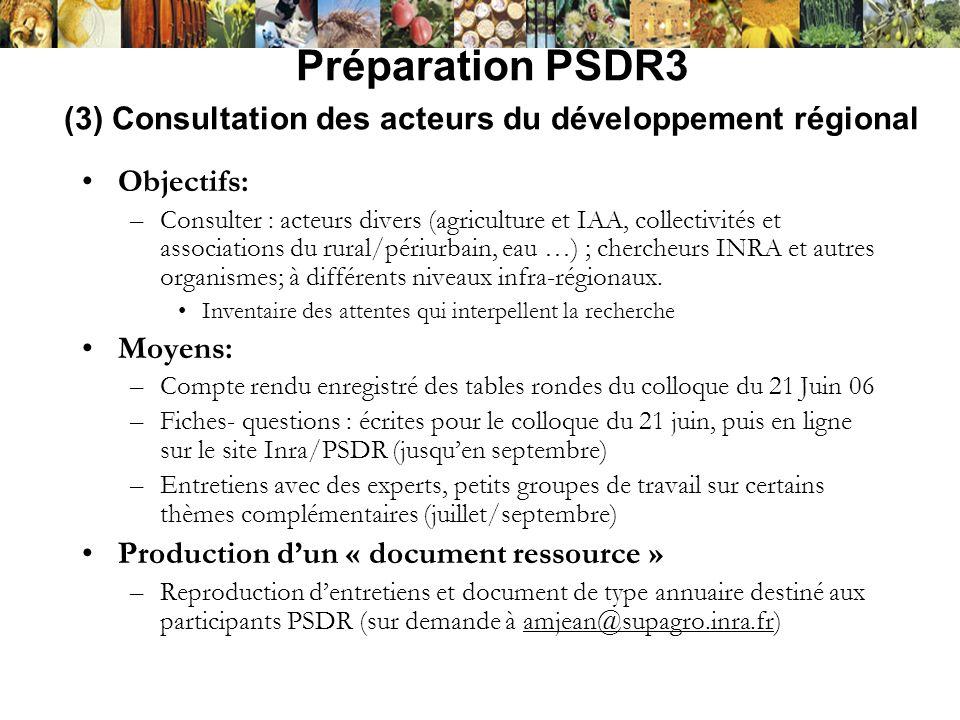 Préparation PSDR3 (3) Consultation des acteurs du développement régional Objectifs: –Consulter : acteurs divers (agriculture et IAA, collectivités et
